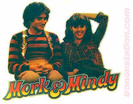 vintage, mork, mindy, robin williams, mindy mcconnell, t-shirt, iron-on, diy, american fashion,