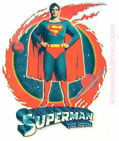 1970s SUPERMAN The Movie 70s Vintage Iron On tee shirt transfer Original Authentic christopher reeve