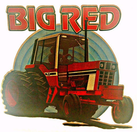 BIG Red TRACTOR Farmer Vintage 70s tee shirt Iron On Authentic NOS retro