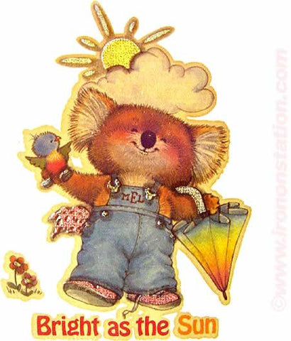 "Cute TEDDY BEAR ""Bright as the Sun"" 70s Vintage Iron On tee shirt transfer Original Authentic retro"