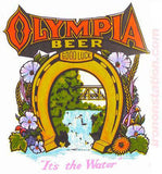 "OLYMPIA BEER ""It's in the Water"" Vintage Iron On tee shirt transfer Original Authentic NOS 70s"