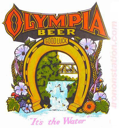 olympia beer it 39 s in the water vintage iron on tee shirt transfer or irononstation vintage. Black Bedroom Furniture Sets. Home Design Ideas