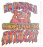 "Beer ""I'm Having a SIX PACK Attack"" Vintage 70s Iron On tee shirt transfer Original Authentic retro 70s americana fashion"