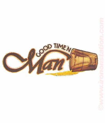 GOOD-TIME'N Man Shots in glitter Vintage Iron On tee shirt transfer Original Authentic deadstock nos 70s booze