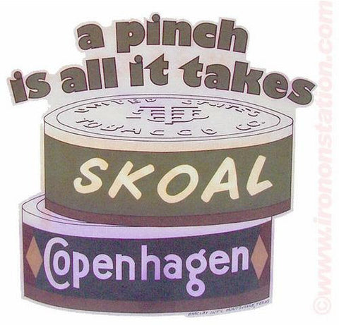 "SKOAL COPENHAGEN ""a pinch is all it takes"" Tobacco 70s Vintage Iron On tee shirt transfer Original Authentic NOS"