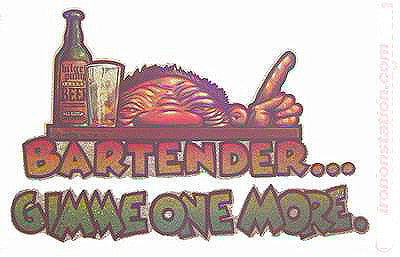 "BARTENDER ""Gimme one more"" Vintage Iron On tee shirt transfer Original Authentic deadstock NOS 70s booze americana"