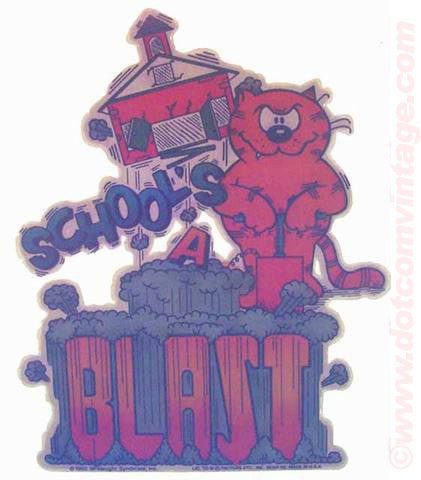 "Heathcliff ""Schools a Blast"" comic strip cat Vintage 70s Iron On tee shirt transfer Original Authentic"