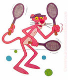 "Cartoon Pink Panther ""Tennis"" Vintage 70s Iron On tee shirt transfer Original Authentic"
