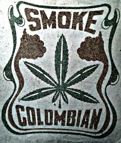 420 SMOKE COLUMBIAN 70s Vintage Iron On tee shirt transfer weed t-shirt iron-on gold green glitter