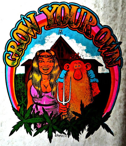 420 GROW Your OWN 70s Vintage Iron On tee shirt transfer weed t-shirt iron-on by Roach