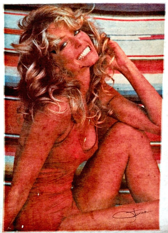 farrah fawcett, charlies angels, vintage t-shirt iron-on, celeb, hottie