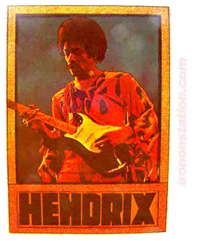 JIMI HENDRIX 70s Vintage Rock Band tee shirt iron-On retro NOS glitter Woodstock Watchtower Purple Haze
