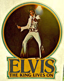 the king, elvis, presley, the king lives on, vintage, 70s, t-shirt, iron-on