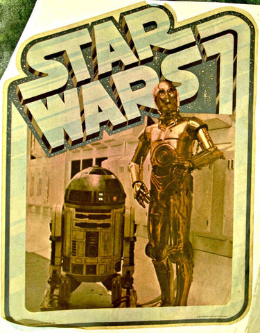 star wars, c3po, r2d2, vintage, t-shirt, iron-on