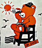CUTE BEAR Lifeguard On Duty Vintage 70s t-shirt iron-on retro tee shirt transfer original authentic NoS