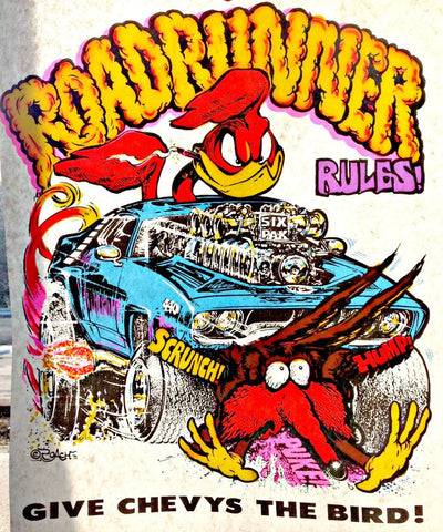 ROADRUNNER RULES vintage 70s t-shirt iron-on transfer nos retro hot rod motorcycle Roach 1971