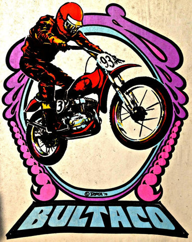BULTACO Moto X Hot Rod Vintage 70s t-shirt iron-on transfer authentic NOS retro american fashion Roach 1973