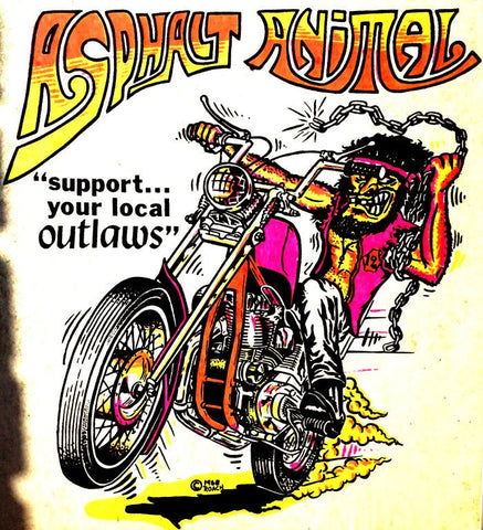 ASPHALT AnIMaL Vintage 70s t-shirt iron-on transfer  Moto X Hot Rod authentic NOS retro american fashion Roach 1968