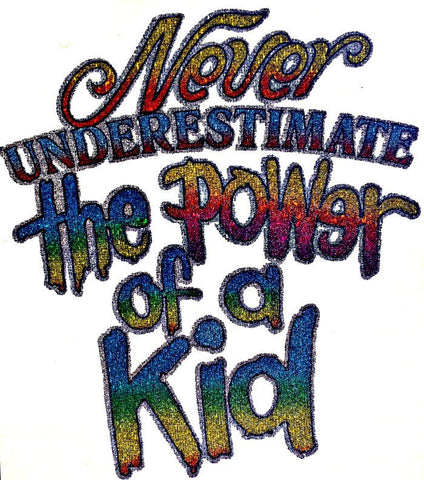 CuTe POWER of a KID 70s Vintage t-shirt iron-on transfer nos retro american tee fashion in glitter Roach