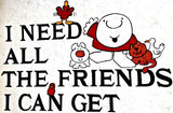 ZIGGY I need FRIENDS Vintage 70s t-shirt iron-on transfer Original Authentic american comic comedy