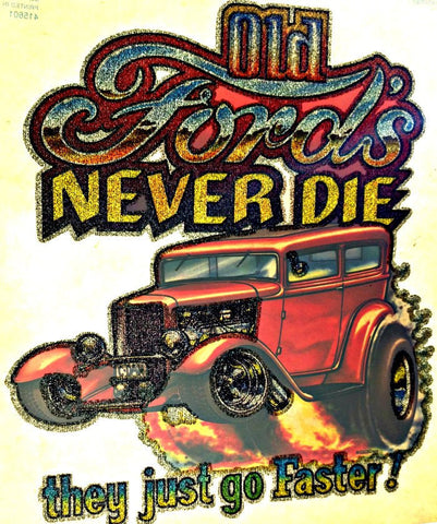OLD FORD never die Vintage 70s t-shirt iron-on transfer Hot Rod Muscle authentic NOS retro american fashion Roach
