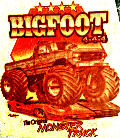 Vintage 70s BIG FOOT Monster Truck t-shirt iron-on transfer authentic NOS retro american fashion