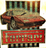 FERRARI in GLITTER Muscle Car Vintage 70s t-shirt iron-on transfer authentic NOS retro american fashion Hot Rods