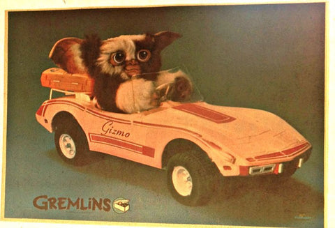 Driving GizMo GREMLIN Vintage t-shirt iron-on transfer Original Authentic NOS 80s spielberg