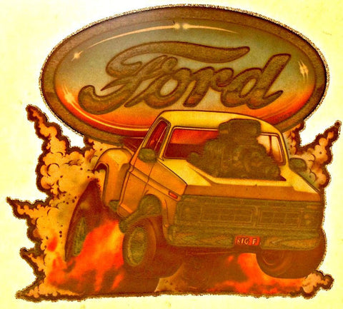 FORD DRAG TruCk Vintage 70s t-shirt iron-on transfer Hot Rod Muscle authentic NOS retro american fashion Roach