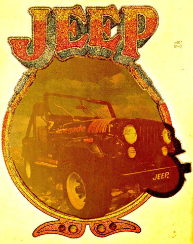 Vintage 70s JEEP 4x4 t-shirt iron-on transfer authentic NOS retro american fashion in glitter