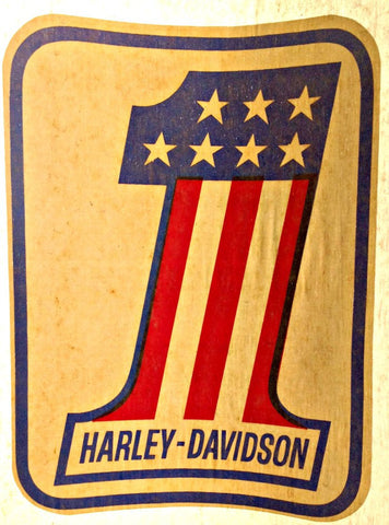 Harley Davidson USA Vintage 70s motorcycle t-shirt iron-on transfer authentic NOS retro american fashion