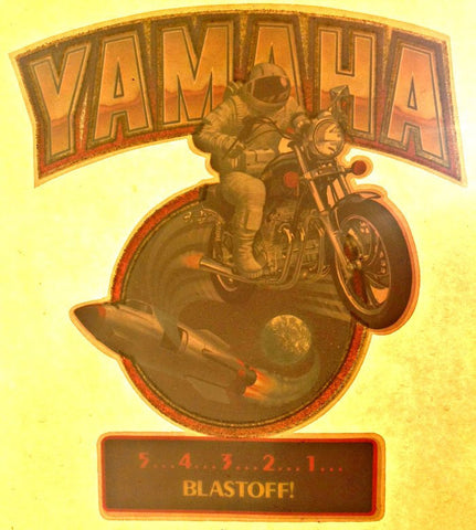 YAMAHA Astronaut MoTorCyCle Vintage 70s t-shirt iron-on moto x transfer authentic NOS retro american fashion