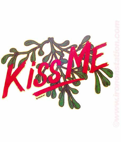 kiss me, mistletoe, christmas, 70s, vintage, t-shirt, iron-on