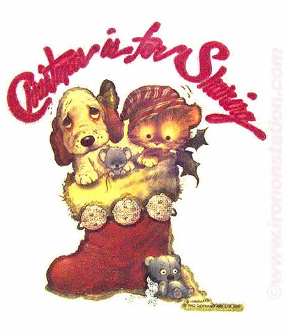cute, kitty, puppy, stocking, christmas, vintage, 70s, t-shirt, iron-on