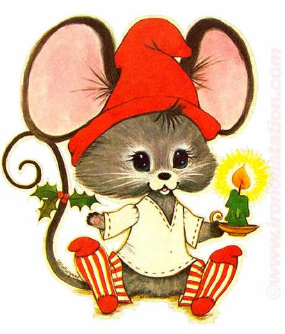 christmas, cute, mouse, 70s, vintage, t-shirt, iron-on
