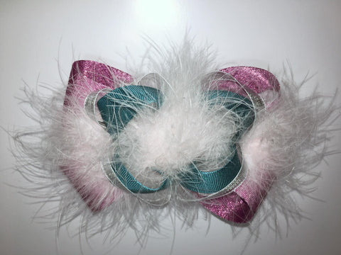 Purple, Metallic Silver, Glitter Turquoise, and Pink Boa.