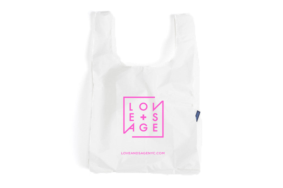 White + Pink Reusable Tote