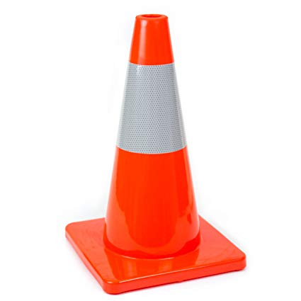 "18"" Orange Slim Fluorescent Reflective Road Safety Parking Cone"