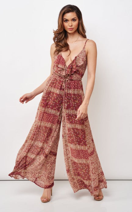 Paisley Red Jumpsuit