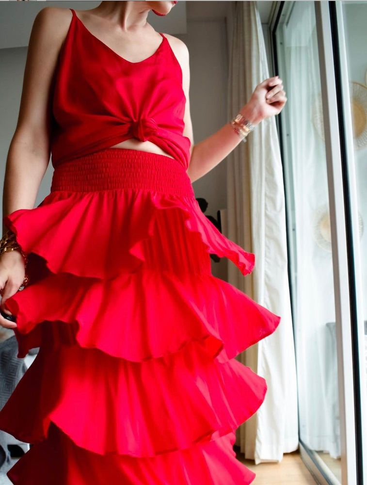 TIFFANY TIER MAXI SKIRT - RED