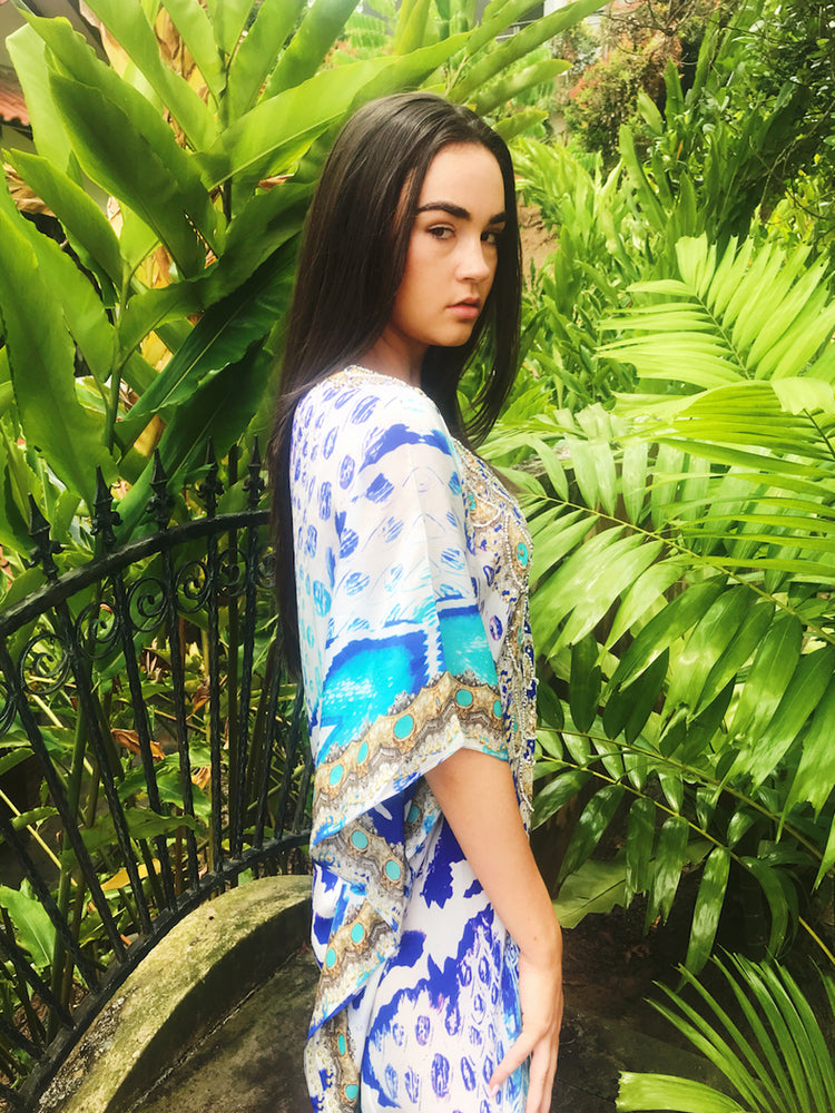 Kenz & Kate Cobra Blue Long Kaftan