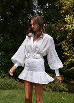 DAISY DRESS - WHITE EMBROIDERED