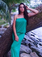 NECK MAXI DRESS - GREEN
