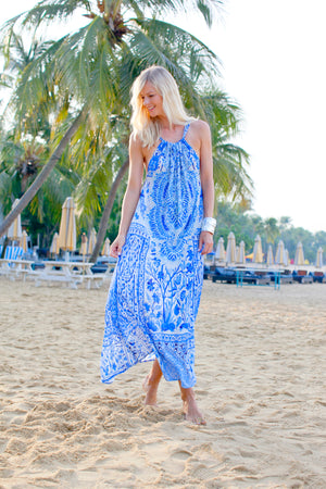 Venice Blue Silk Halter Neck Dress