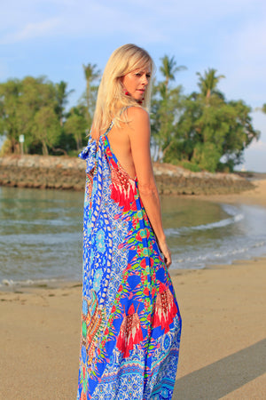 Athena Multi Halter Silk Dress