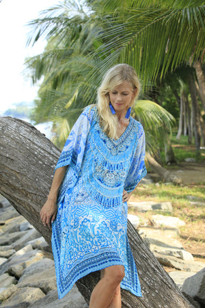 Luna Blue Short Kaftan
