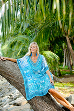 Luna Blue Silk Short Kaftan