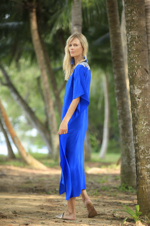 Santorini Blue Long Kaftan