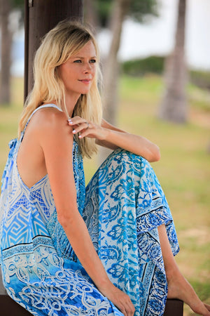 Luna Blue Silk Halter Neck Dress