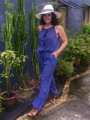 Kenz & Kate Mosaic Tassel Jumpsuit in Navy